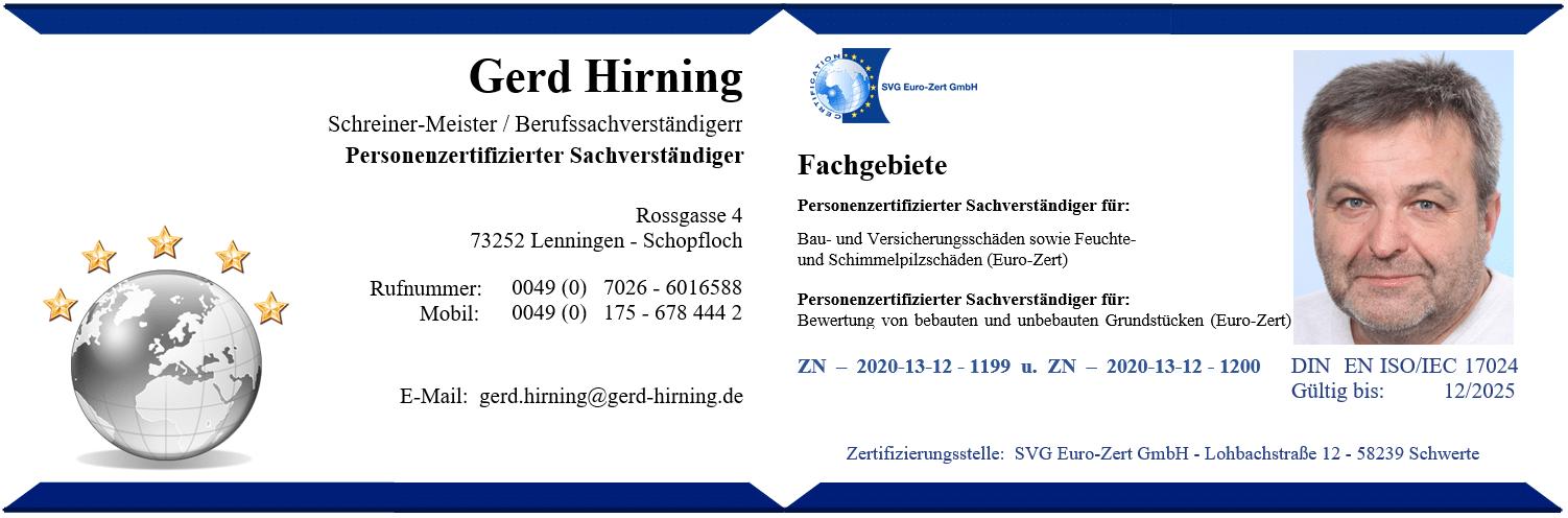 Ausweis Gerd Hirning mit Bild 2020