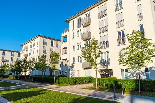 Modern creamy housing construction seen in Munich, Germany