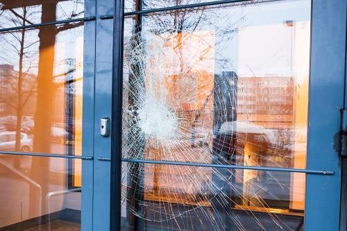 Broken glass front door
